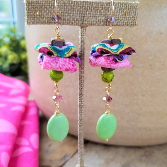 Charming Fabric Dangle Earrings / Green Picasso Jasper Earrings / High Quality Gemstones Earrings / Adorable Mothers Day Gift