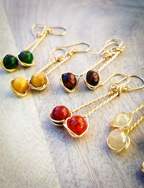 Enchanting Fall Earrings/ Charming Gold Filled Braided Short Earrings/ Variation on Stones and Colors Fall Earrings