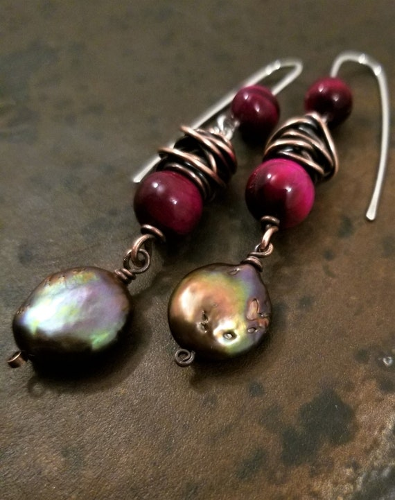 Red Rose Cat's Eye Gemstone  Earrings /Copper Gold Coin Freshwater Pearls Earring / Copper Patina Dangle Earrings /Oxidized Copper Earrings.