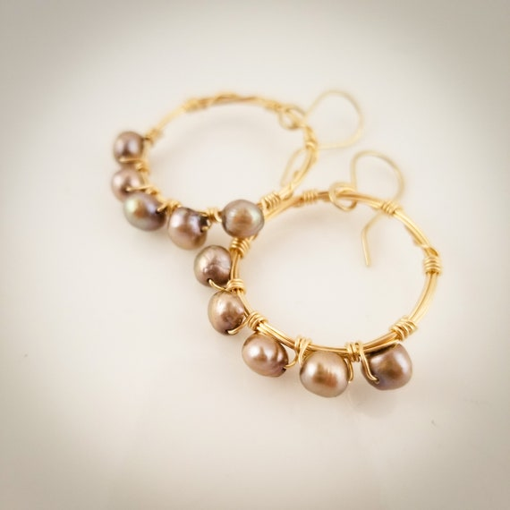 Genuine Pearl Hoops Earrings/ Twisted Beaded Hoops/ Wire Wraped Hoops/Enchanting Pearl Hoops Earring