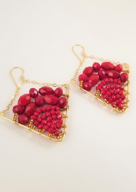 Victoria Marial Luxe Triangle Beaded Earrings/ Red Spark Triangle Crystals Dangle Earrings/Statement Red Crystal Earrings.