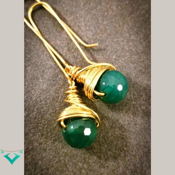 Unique Agate Gemstone Dangle Earrings / Charming Colors of the season Earrings / Wrapped Long Bar Earrings