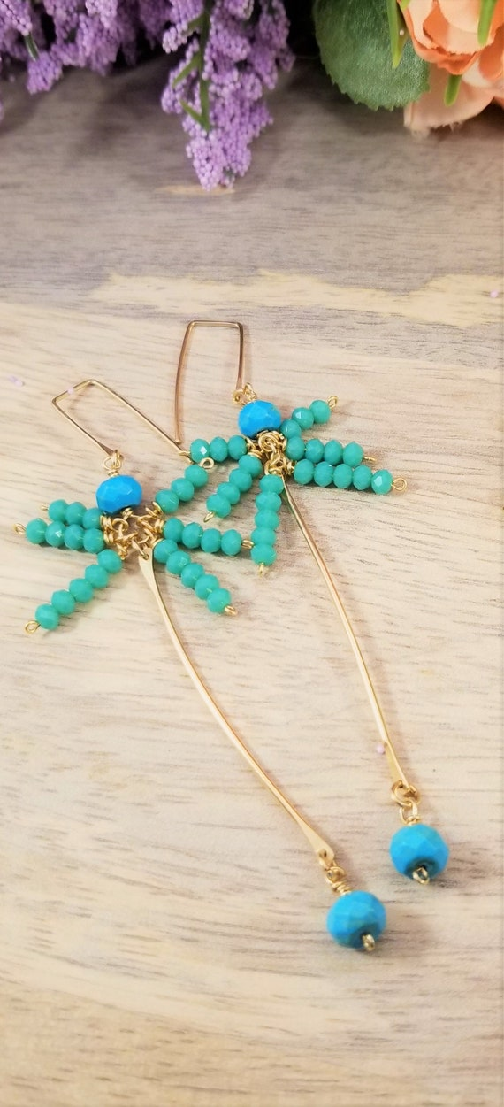 Gold Filled Turquoise Bar Earrings/ Rondelle Turquoise Bar Fairy Earrings/ Victoria Marial Studio/ Turquoise Howlite Drop Dangle Earrings.