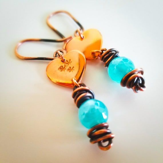 Heart Copper Dangle Agate Earrings / Aquamarine Agate Plated Earrings / Enchanting Wrapped Agate Drop Earrings / Victoria Marial Gifts
