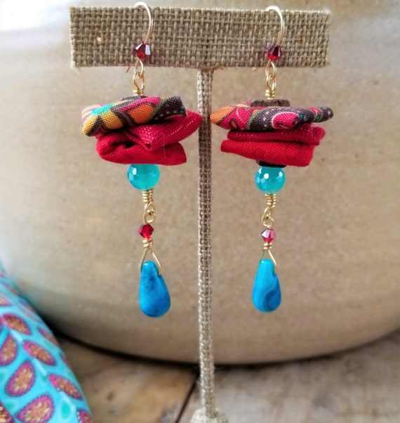 Drops Dangle Turquoise Agate Earrings / Charming Fabric Dangle Earrings / High quality Gemstones Summer Earrings / Adorable Mothers Day gift