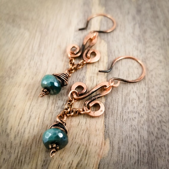 Moonstone Chandelier Dangle Earrings/ Antique Copper Patina/ Rustic Copper Dangle Drop Earrings