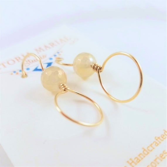 Charming Agate Plate Hoops Earrings/ Gold Filled Gemstone Earrings/Exquisite Champagne Color Faceted Agate Earrings/ VictoriaMarial