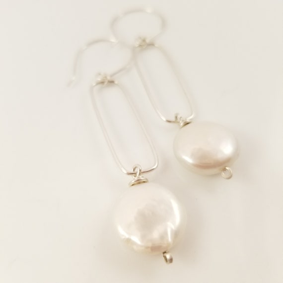 Genuine Flawless Pearl Drop Earrings/Glossy White Coin Pearl Dangle Earrings/ Sterling Silver Pearl Bar Earrings/ Joyful Pearl Earrings