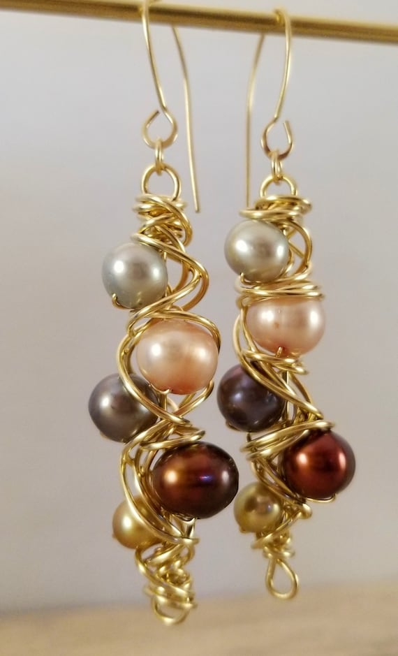 Genuine Freshwater Pearls Earrings/ Twister Dangle Pearl Earrings/  Wire wrapped  Flawless Pearls Earrings / Victoria Marial Earrings