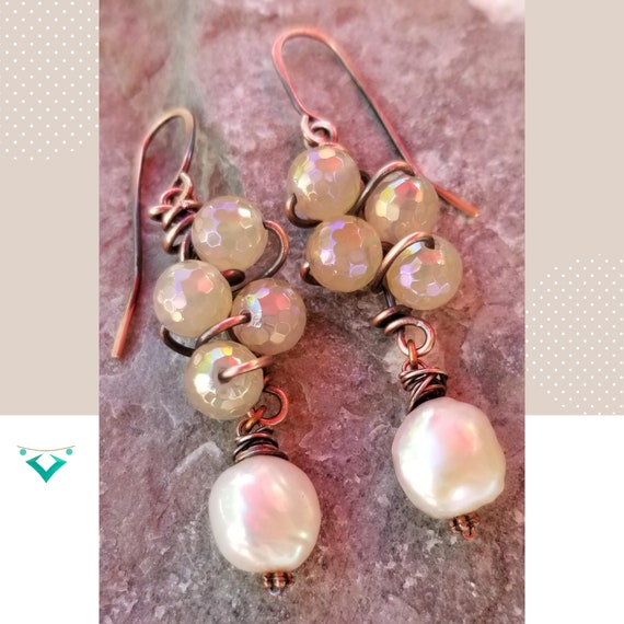 Glamorous Agate Plate Dangle Earrings/ Unique Wrapped Gemstones Earrings / Exclusive Gift Earrings / Bridal Earrings