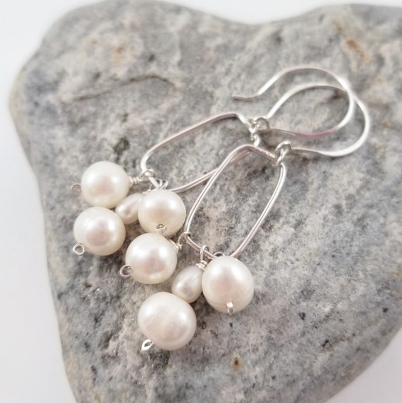 Genuine Shiny White Freshwater Pearls Dangle Earrings/ Sterling Silver Pearl Drop Dangle Earrings/ Pure Love White Pearls Earrings
