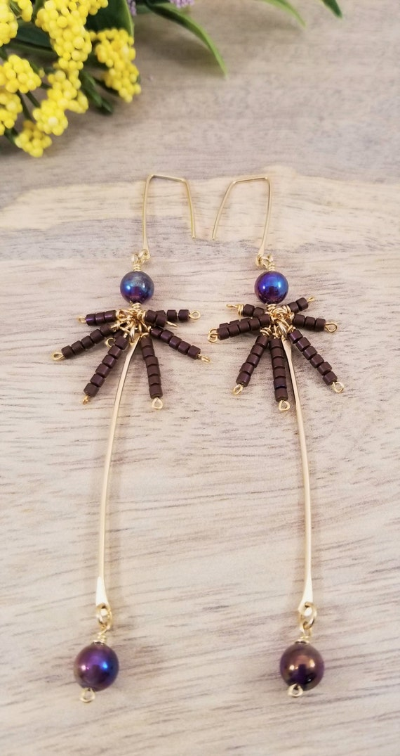 Gold Filled Amethyst Aura Quartz Bar Earrings/ Amethyst Fairy Earrings/ Victoria Marial Studio/ Amethyst Aura Quartz Drop  Dangle Earrings.
