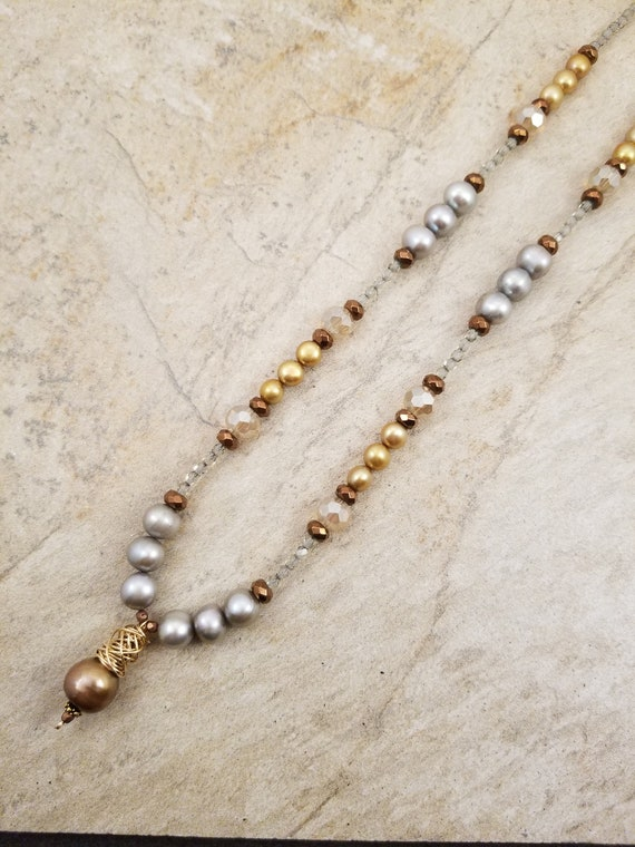 Inspired By The Sea/ Magnificent Gray and Golden Genuine Pearls Necklace/ Princess Stunning Fresh Water Pearl Necklace by  Victoria Marial