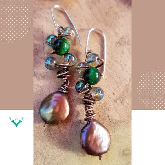 Enchanting Cats Eye Dangle Earrings/ Unique Wrapped Gemstones Earrings / Exclusive Gift Earrings