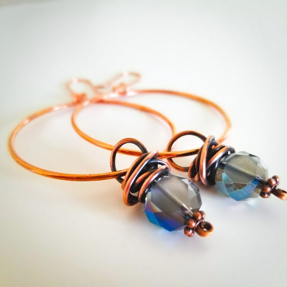 Copper Hoops Earrings/ Crystals Wrapped Earrings/ Healing Copper Patina Earrings/ Dangle Hoop Earrings VictoriaMarial