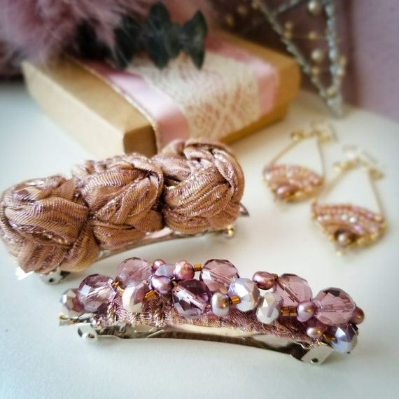 Unique Gemstone Hair Accessories / French Hair Barrette Clip Set  / Barrette Metal Hair Clips / Freshwater Pink pearls and Crystals Hairclip