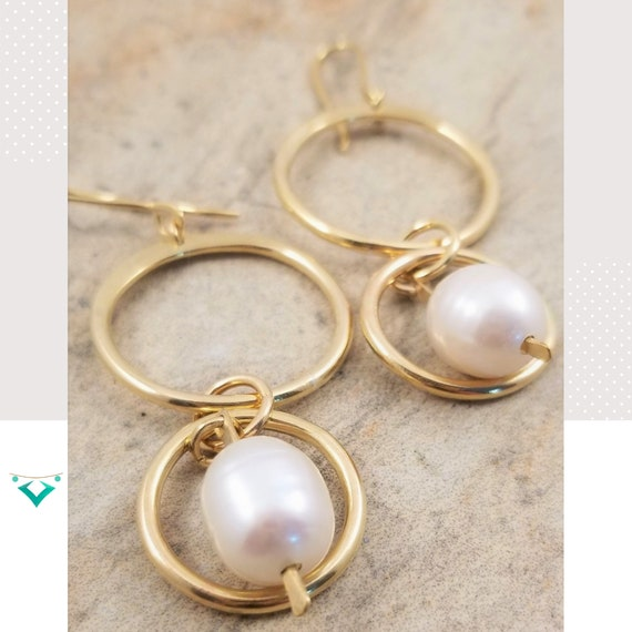 Genuine, Lustrous Potato White Pearl Errings/ Double Hoop Iridescent Pearl Earrings/ Statement Dangle Pearl Earrings/ Bridal Hoop Earrings