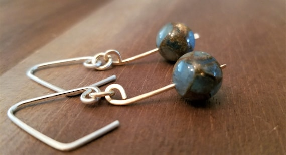 Majestic Blue Brazilian Agate gemstone Earrings / Gold Filled, Agate Dangle Earrings / Chic / Victoria Marial.