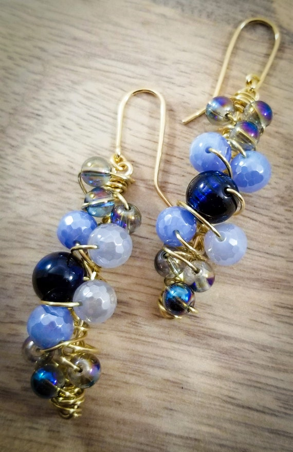 Cluster Harmony Agate Earrings/ Exquisite Blue Gemstones Wrapped Earrings / Blue Bubbles Spiral Earrings/ Genuine Agate Plate Earrings