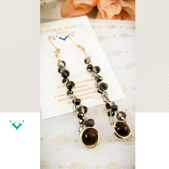 Exquisite Gold Filled Braided Long Earrings / Splendid Cats Eye gemstone and Crystals Earrings