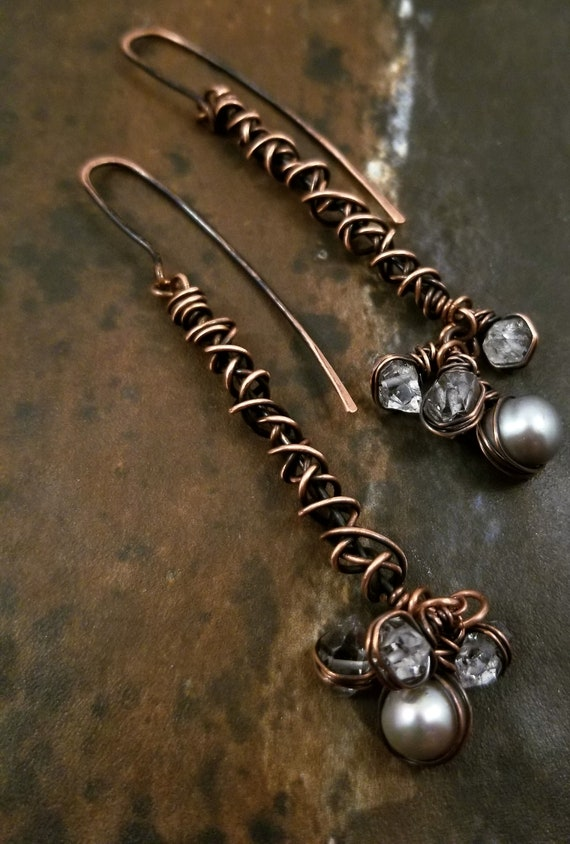 Herkimer Diamond Earrings/Genuine Freshwater Pearl Long Bars Earrings / Long Sticks Dangle Copper Earrings /  Victoriamarial Earrings
