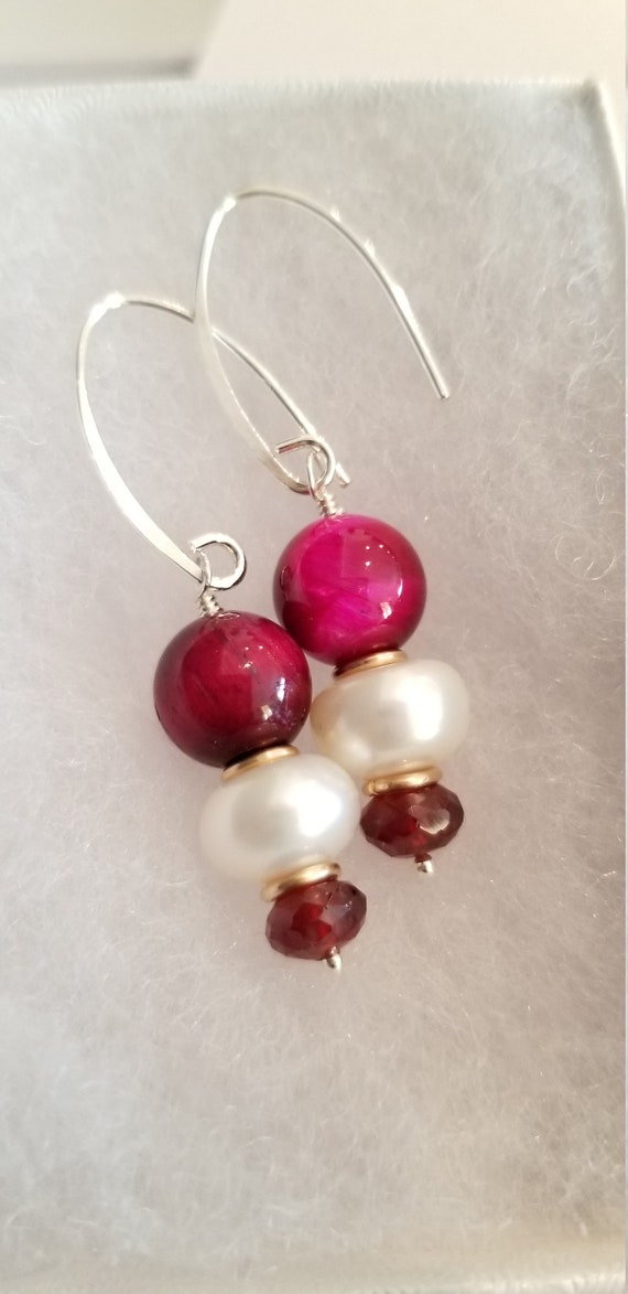 Winter Fest Stacked Gemstone and Pearl Earrings/ Cultured Freshwater Pearl Red Cats Eye Raspberry Shine Garnet / Festive Dangle Earrings.