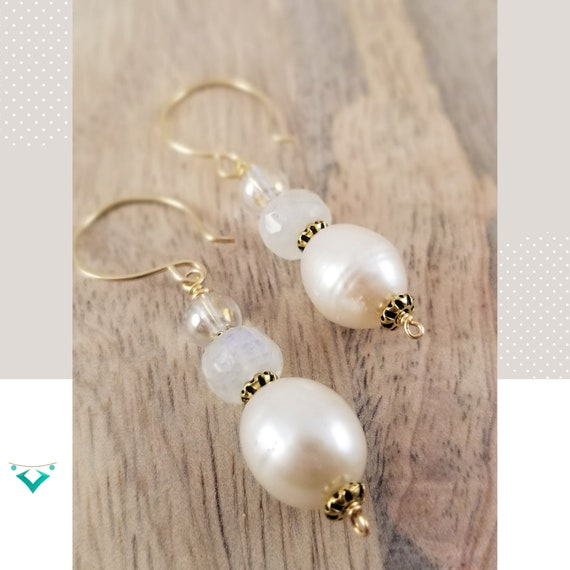 Absolutely Gorgeous, Iridescent White Potato Dangle Pearls Earrings / Moonstone Briolette and Pearl Earrings/ Festive Holiday Pearls Earring