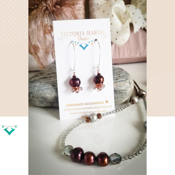 Inspired By The Sea/ Splendid Genuine Pearls Set Necklace / Flawless Pearls & Crystals Necklace By Victoria Marial