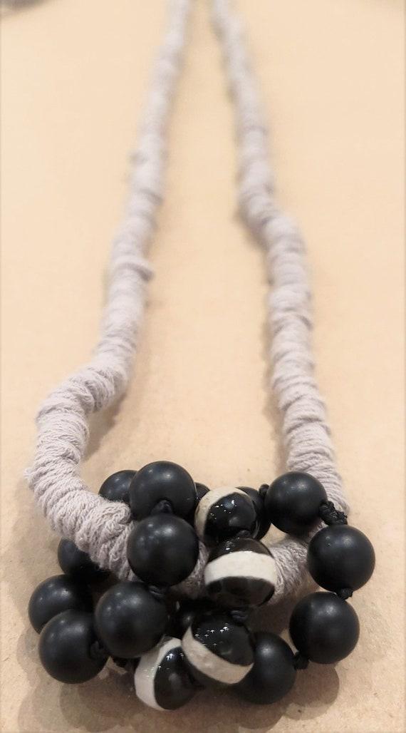 Organic Cotton Beaded Necklace/ Gorgeous Onix Long Fabric Necklace