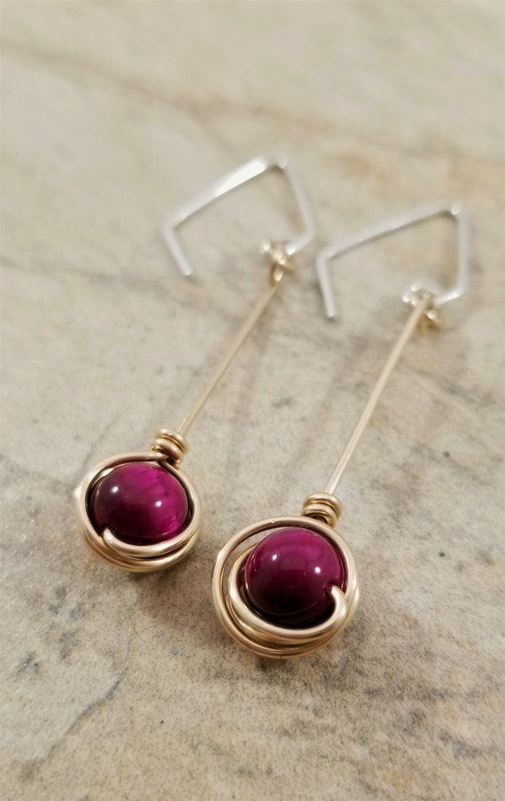 Gold Filled Natural Red Rose Cat's Eye Gemstones Earrings / Silky Lustre Red Rose Cat's Eye Dangle Earrings / Charming Short Dangle Earrings
