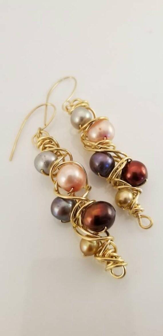 Genuine flawless Wrapped Wire Pearls Earrings/ Twister Dangle Pearls Earrings/ victoriamarial Earrings