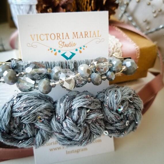 Best Seller Crystals Hair Accessories / French Hair Barrette Clip Set / Barrette Metal Hair Clips /Isaac Mizrahi Yarn Pom pom Hair Clip