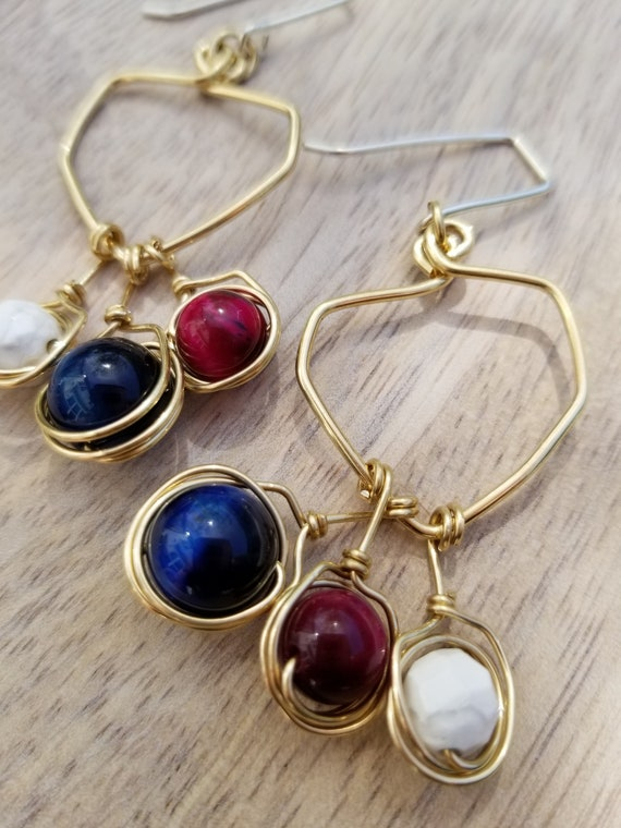 Statement Geometric Cat's Eye Earrings / Trendy Summer light Earrings / Dangle Drop Summer Earrings/  Gold Brass gemstone Earrings