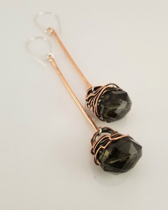Artistic Drop Dangle Faceted Crystals Earrings /  Crystal Drop Bars Earrings /Wrapped Dangle Bars Crystals Earrings / VictoriaMarial