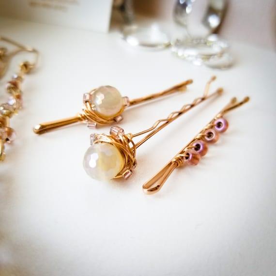 Agate Plate Gemstone Hair Pin Set / Charming Wedding Bobby Hair Pin Set / Hair Accessories / High Quality Hair Jewelry