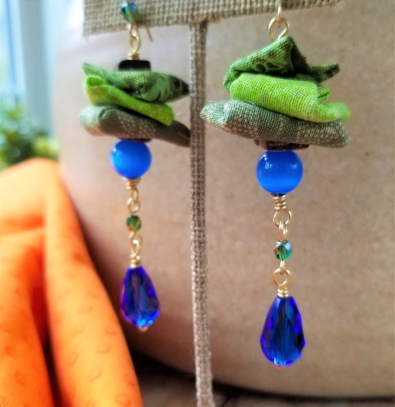 Charming Fabric Dangle Earrings / Blue Cats Eye Gemstone Earrings / High Quality Gemstones Earrings / Adorable Mothers Day Gift.