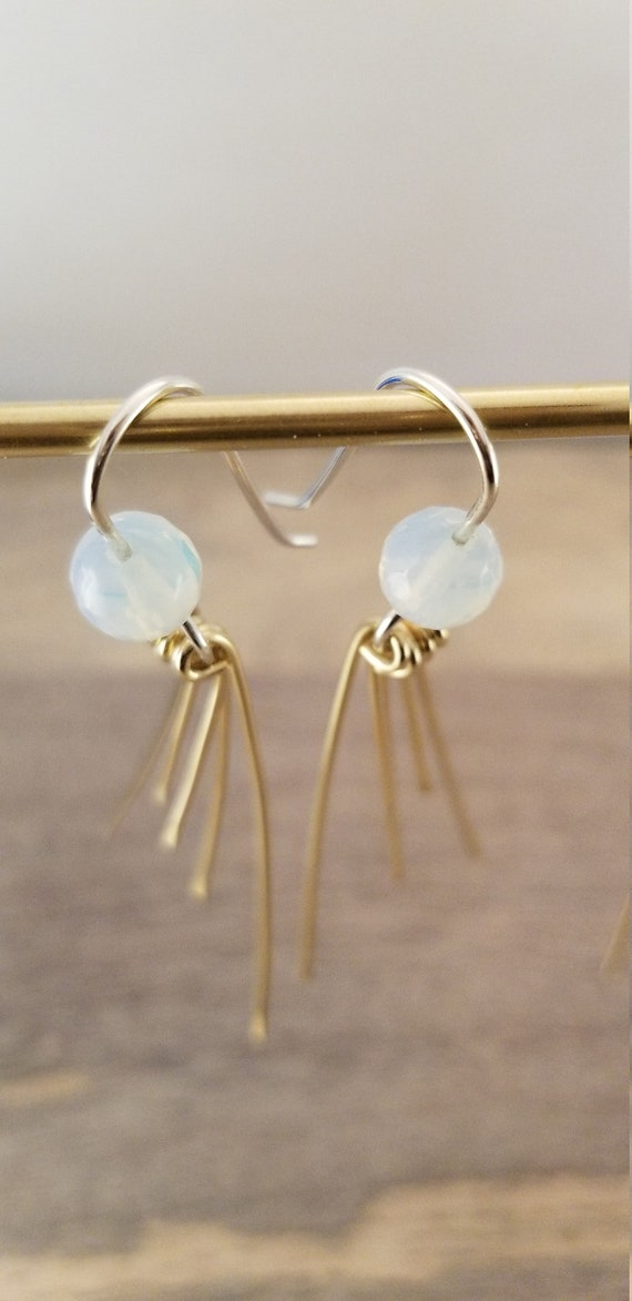 Gorgeous, Milky, Translucent Opalite Dangle Earrings / Minimal Dangling Sticks Earrings / Light Rays drop Earrings/ Victoria Marial Earrings