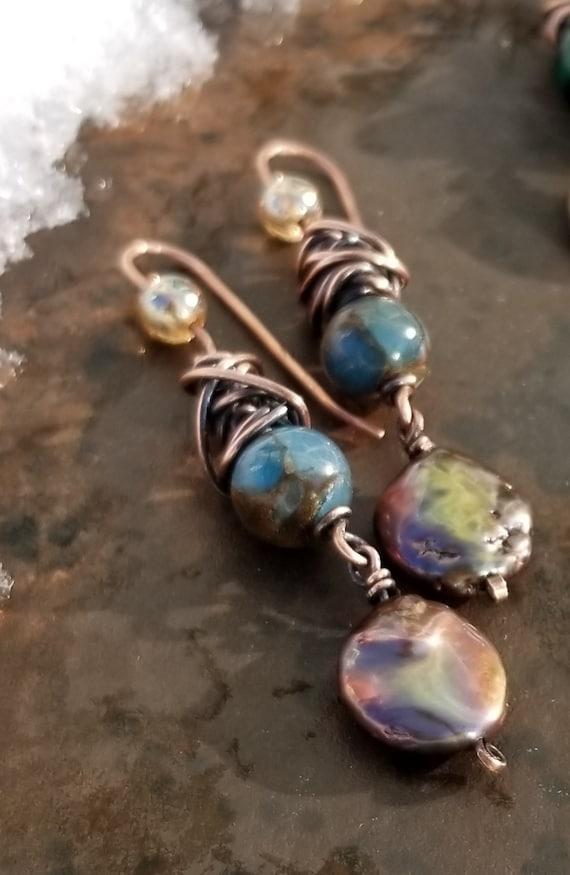 Blue Agate Gemstone  Earrings /Copper Gold Coin Freshwater Pearls Earring / Copper Patina Dangle Earrings /Oxidized Copper Earrings.