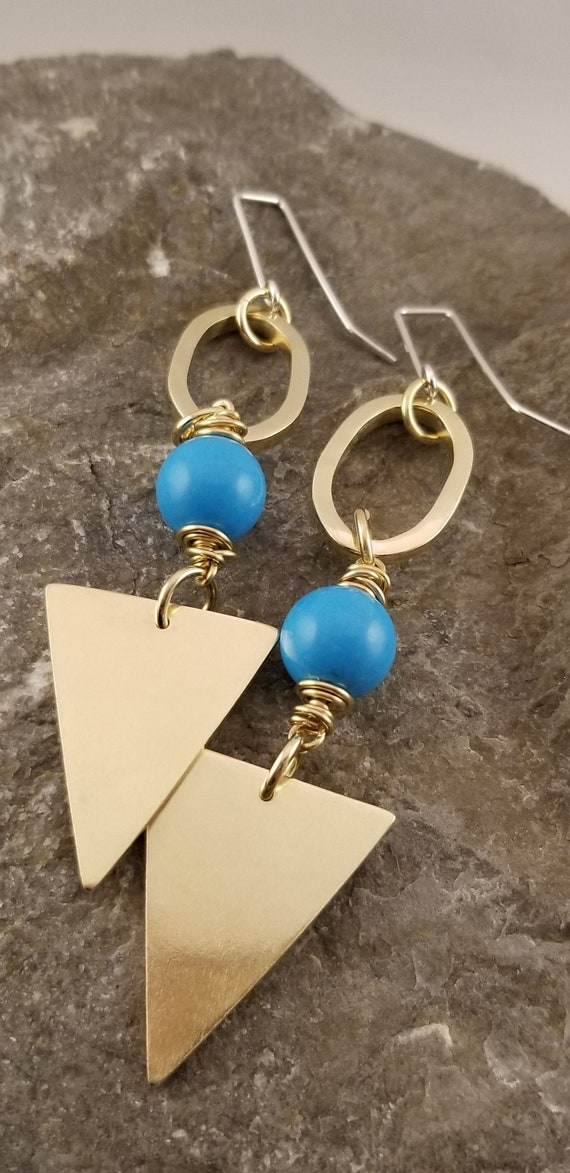Edgy Classic Triangle Turquoise Earrings/Best Summer Statement Earrings/ Elegant Geometric Arrow Earrings/ Geometric Drop Dangle Earrings