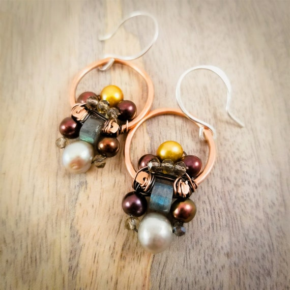 Mystical Multi Gemstone Wire Wrapped Earrings /Cluster Gemstone Hoops Earrings/ Copper Patina Labradorite and Pearl Cluster Earrings