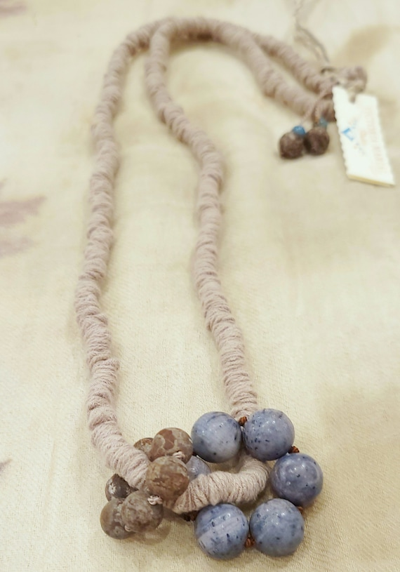 Handcrafted, Organic Cotton Fabric, Gemstone Necklace/ Old Tibetan Agate Fabric Necklace/ Unique Desing by Victoria Marial.