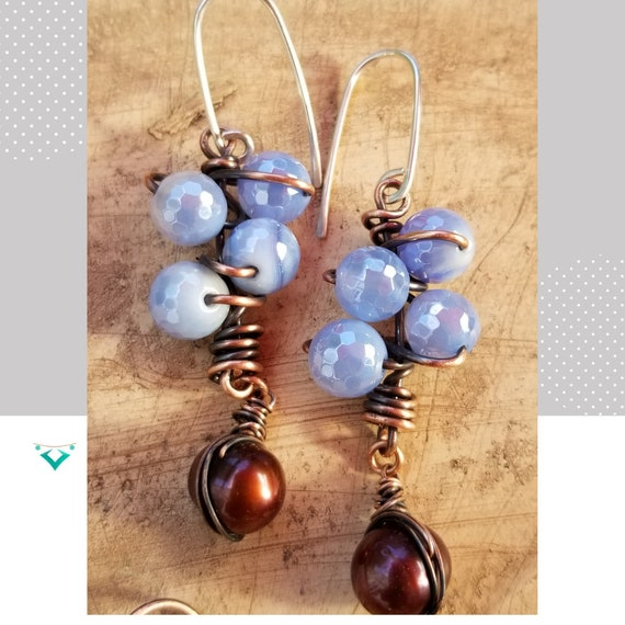 Charming Brazilian Agate Plate Dangle Earrings/Unique Wrapped Gemstones Earrings /Exclusive Gift Earrings/ Timeless Copper Earrings