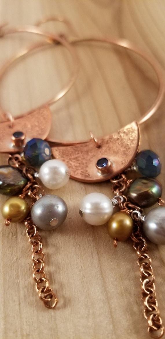 Multi Gemstones Hoop Drop Earrings, Multi Colors Cluster Hoop Earrings, Hoop Drop Zirconia Copper Earrings,  Copper Moon Zirconia Earrings
