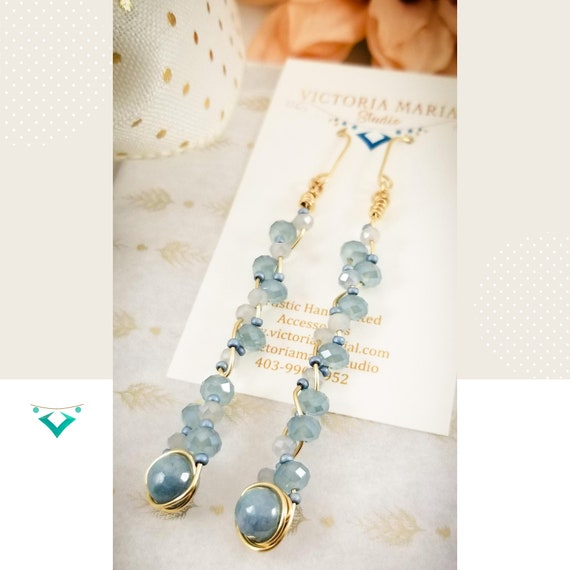 Blue Charming Agate Long Bar Earrings / Exquisite Gold Filled Braided Long Earrings