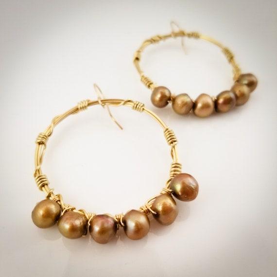 Divine Pearl Hoops Earrings/ Twisted Beaded Hoops/ Wire Wraped Hoops/ Luminescent Gold Dark Pearl Hoops Earring