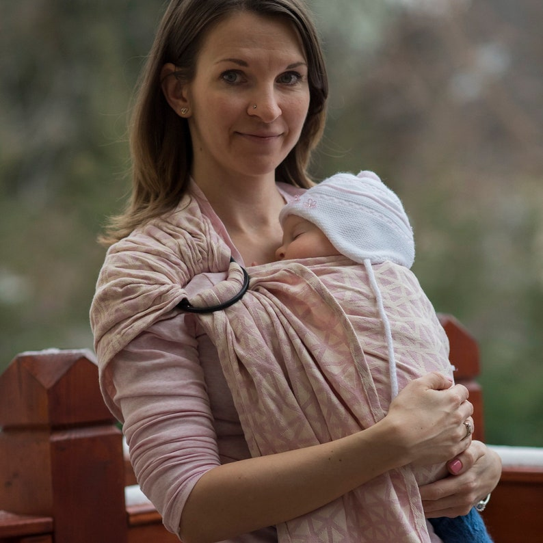 Ring Sling Baby Carrier - Daiesu Sweetheart Blush - baby sling for infant  and toddler, travel carrier, newborn essential, gift for new mom