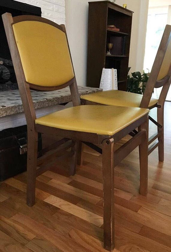 Vintage Yellow Chair Stakmore Folding Chair Vintage Wood Chair | Etsy