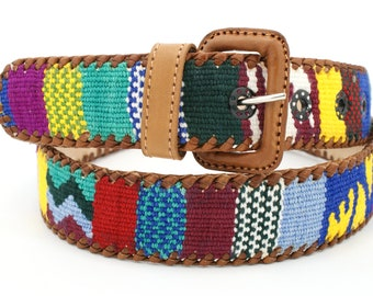 fad071b9643382 90er Vintage handgefertigt Echtleder Bunter Ledergürtel GUATE Gürtel  Guatemala