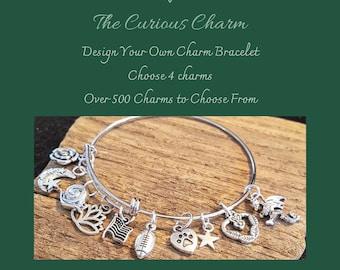 Design Your Own Custom Charm Bracelet, Build Your Own Bangle, Custom DIY Charm Bracelet, Pick Your Charms, Adjustable Bangle, stack, layer