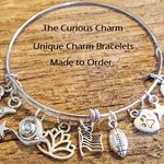 Design Your Own Custom Charm Bracelet, Build Your Own Bangle, Custom DIY Charm Bracelet, Pick Your Charms, Adjustable Bangle